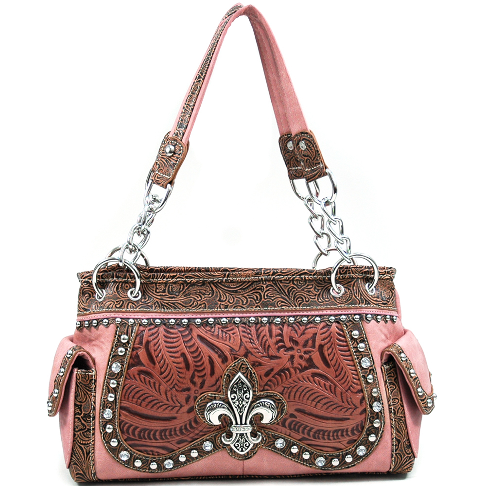 U Style® Maiden Hair Fern Fleur-de-Lis Shoulder Bag