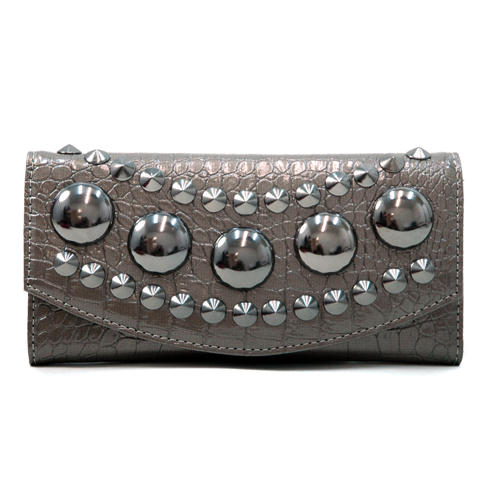 Women's Large Croco Checkbook Wallet with Pointy and Chunky Studs