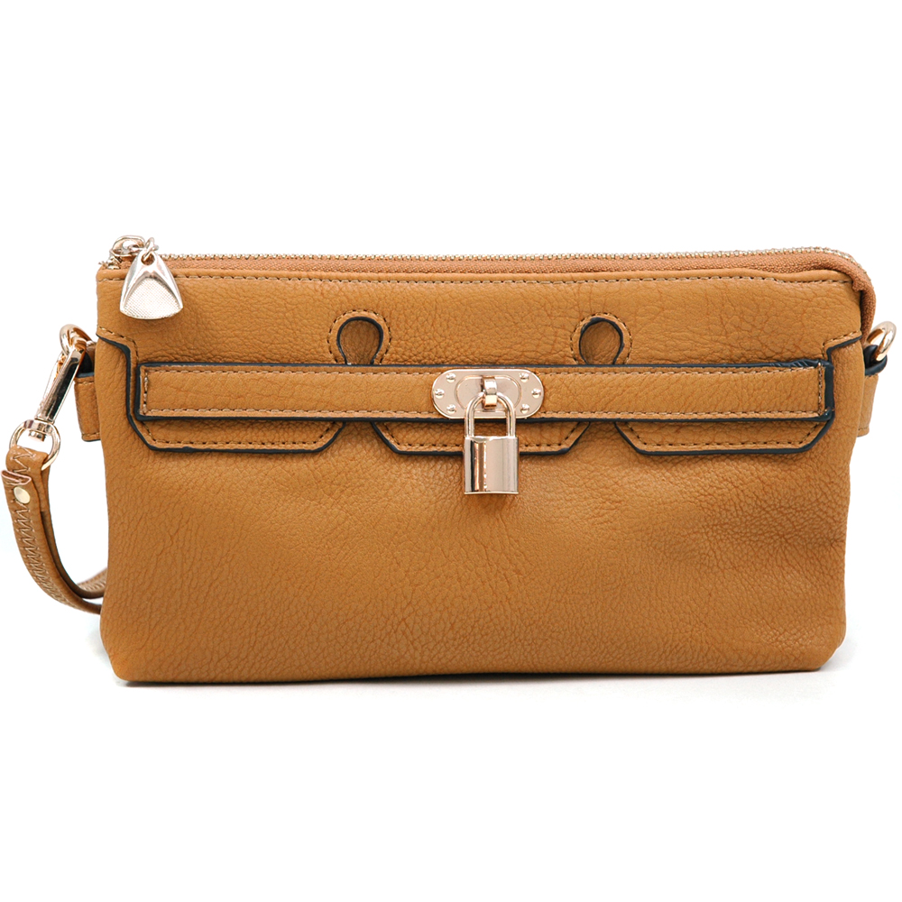 Women's Classic Clutch w/ Belted Front Lock Decor & Detachable Wrist Strap