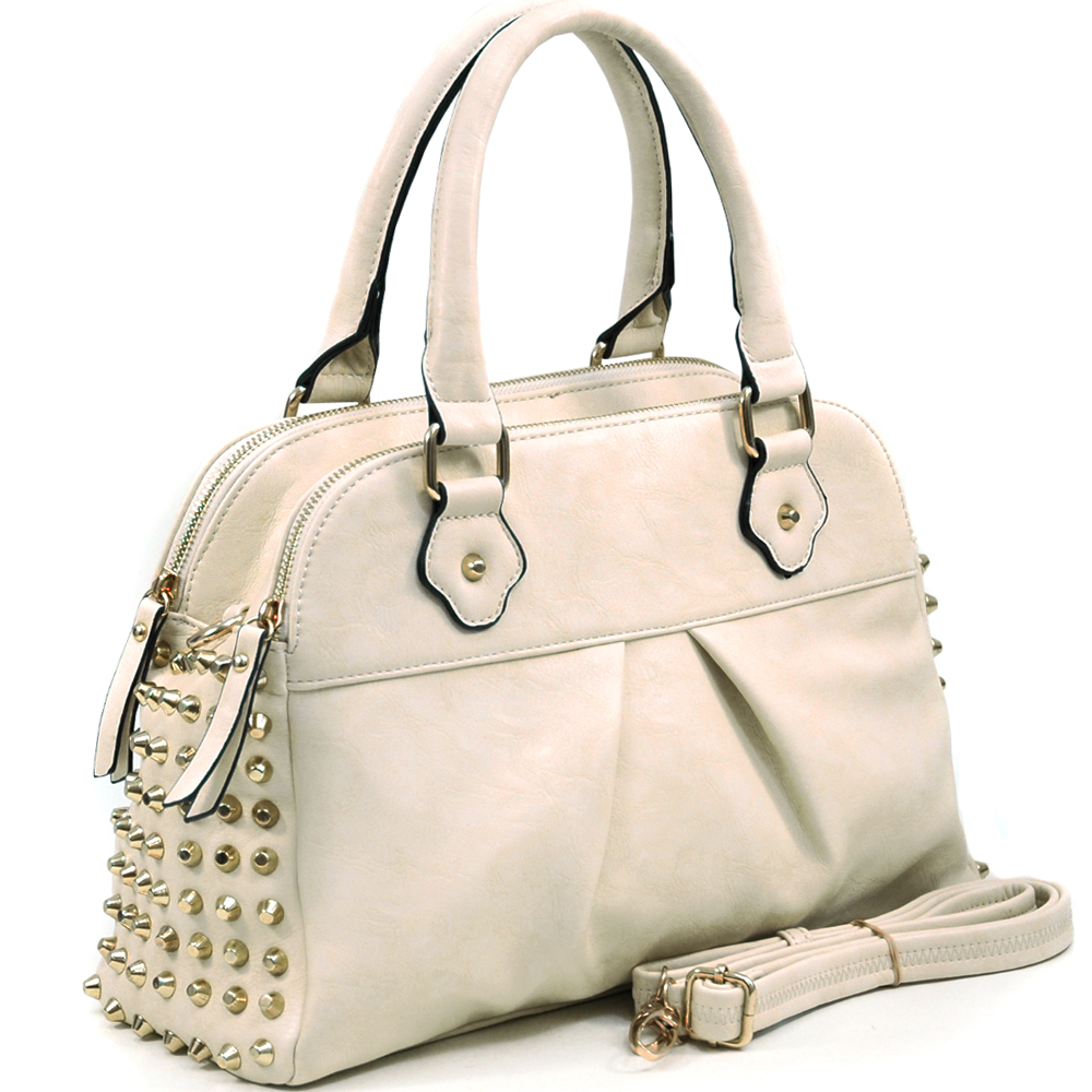 Women's Gold Studded Fashion Satchel w/ Bonus Strap - Beige