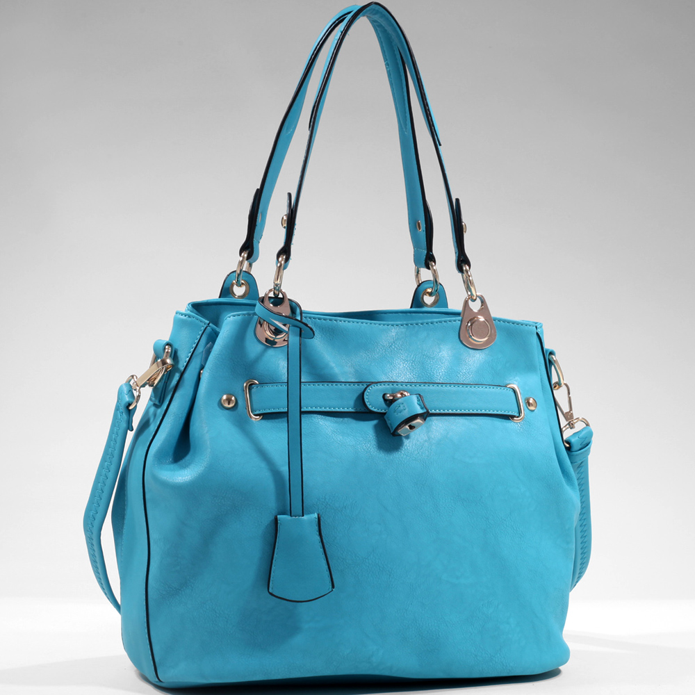 Women's Classic Belted Tote w/ Side Snaps for Expansion
