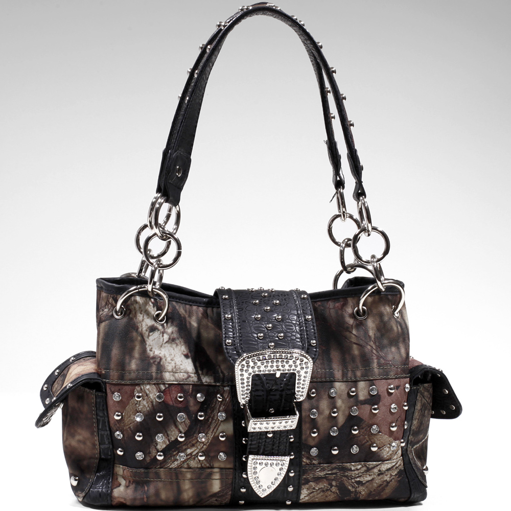 Mossy Oak ® camouflage buckle accent shoulder bag handbag - Camouflage / Black Trim