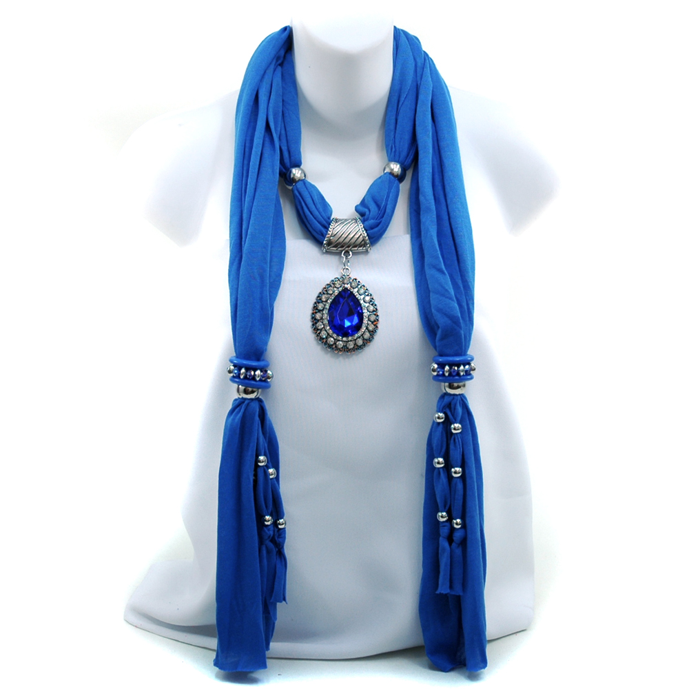 omen's Necklace Style Fashion Scarf  Tear Drop Pendant
