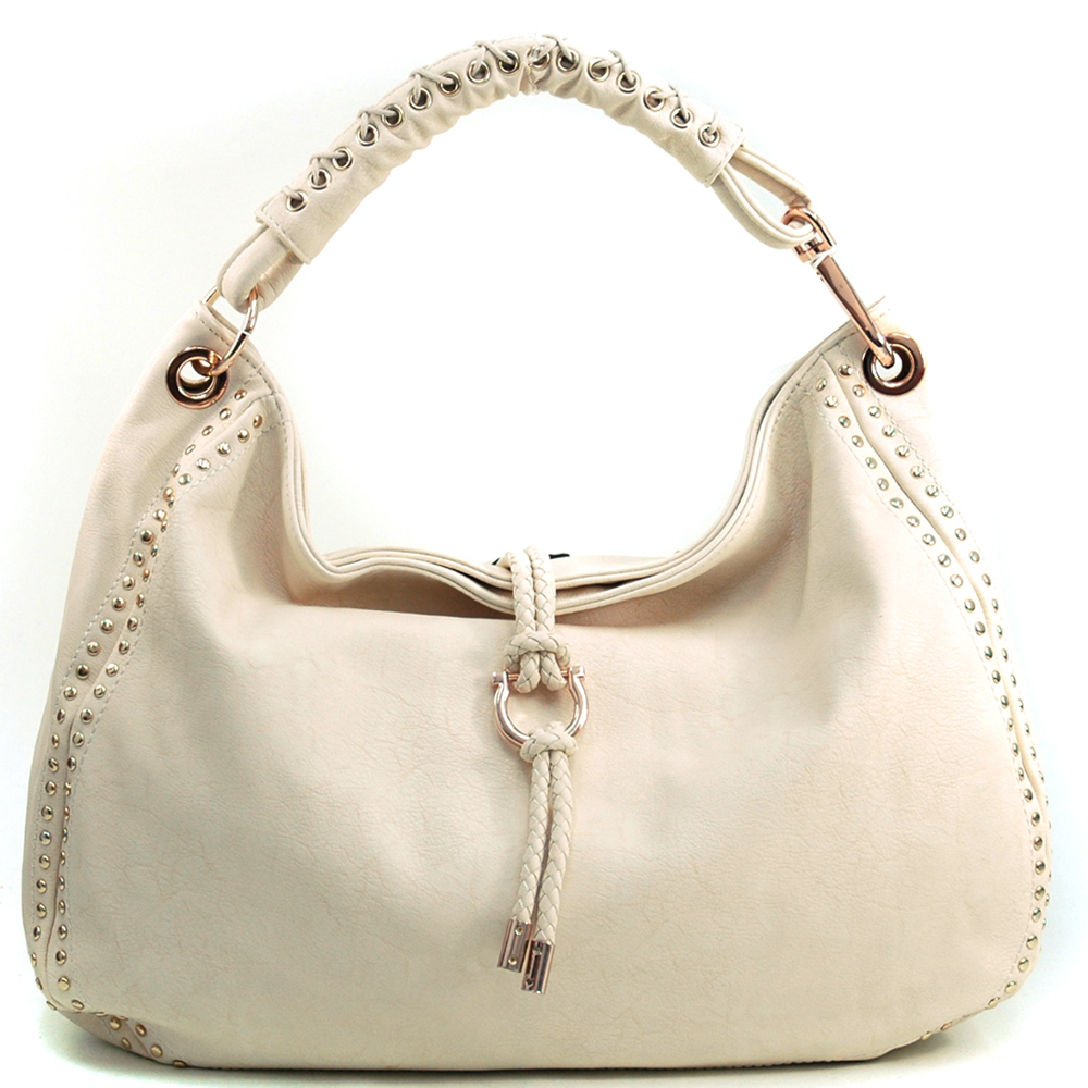 Women's Mini-Studded Fashion Hobo with Tassel Accent & Corset Shoulder Strap