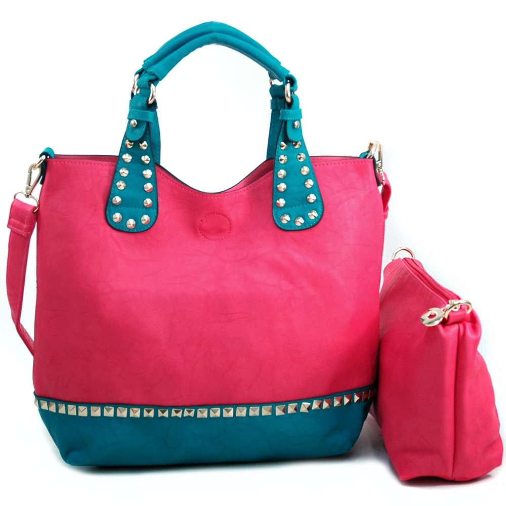 omen's To-toned Studded 2-in-1 Carrying Tote  Bonus Strap