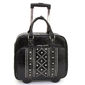 Women's Rhinestone Studded Weekender Luggage w/ Wheels & Extendable Handle - Black