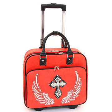 Women's Western Rhinestone Cross Weekender Luggage with Wheels & Extendable Handle - Red