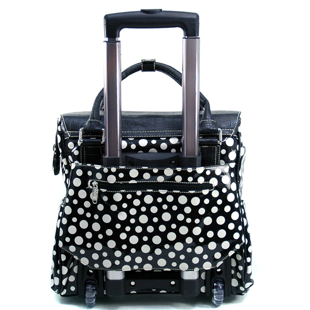 Women's Croco Trim Polka Dot Embellished Weekender Luggage w/ Wheels & Extendable Handle - Black