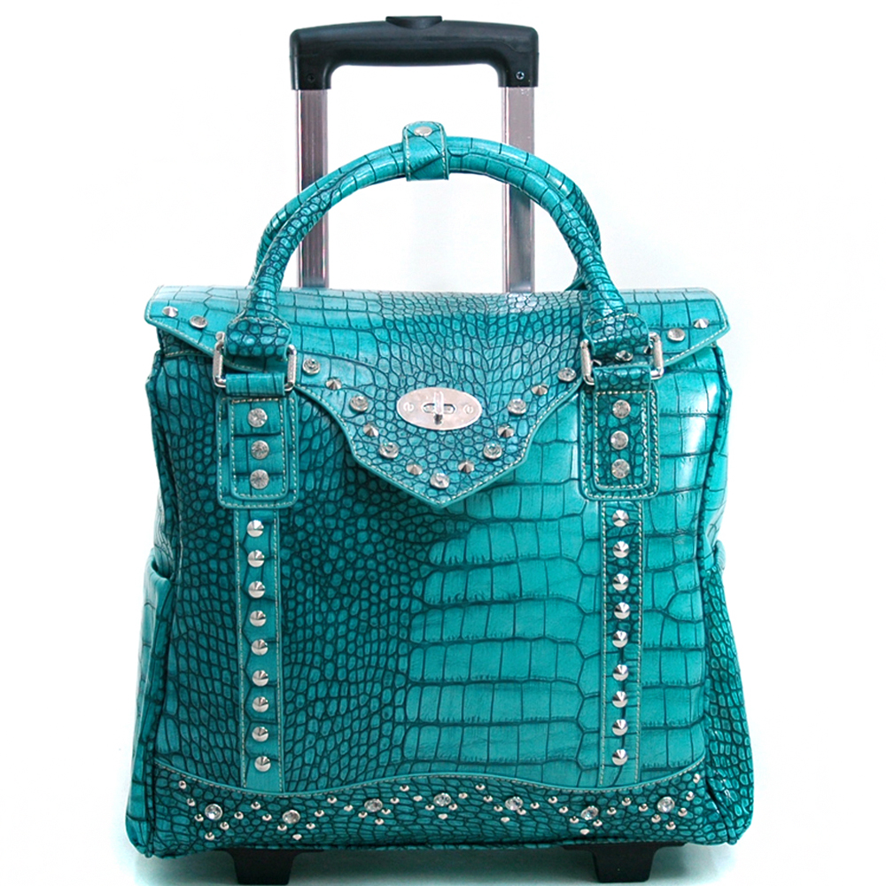 Women's Croco Texture Weekender Luggage w/ Wheels & Extendable Handle - Turquoise
