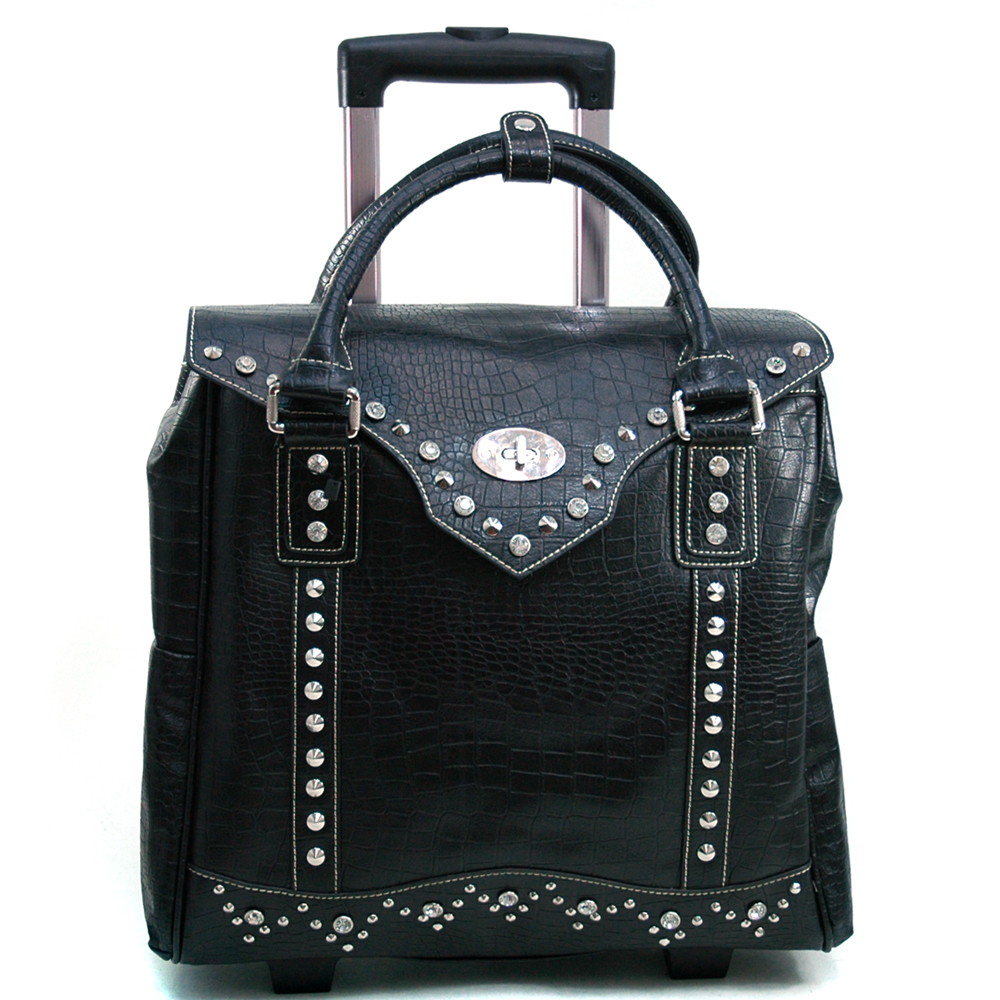 Women's Croco Texture Weekender Luggage w/ Wheels & Extendable Handle - Black