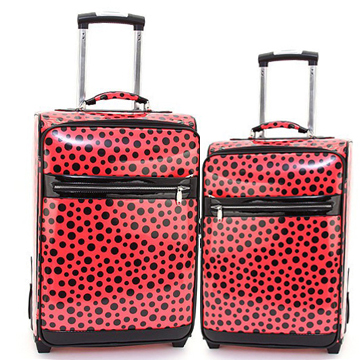 Women's Polka Dot 2-Piece Luggage Set w/ Wheels & Extendable Handle - Red