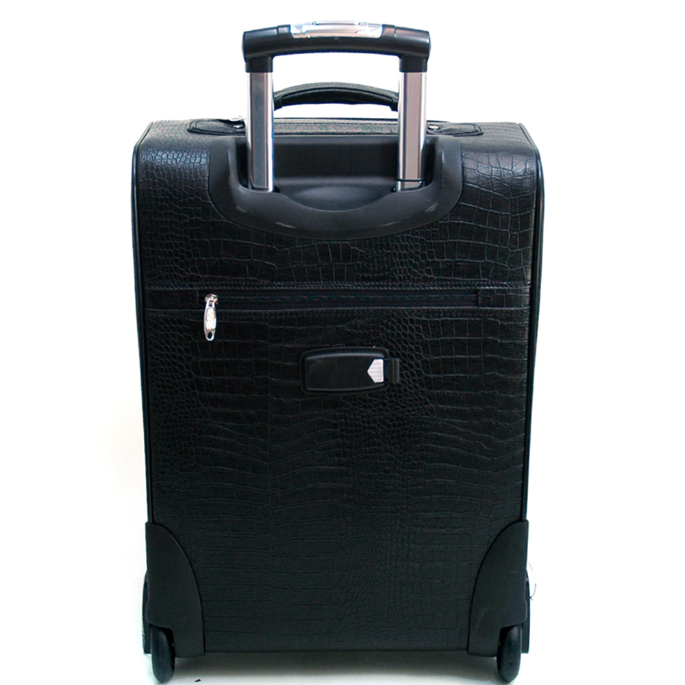 Women's Croco Fleur de Lis 2-Piece Luggage Set w/ Wheels & Extendable Handle - Black