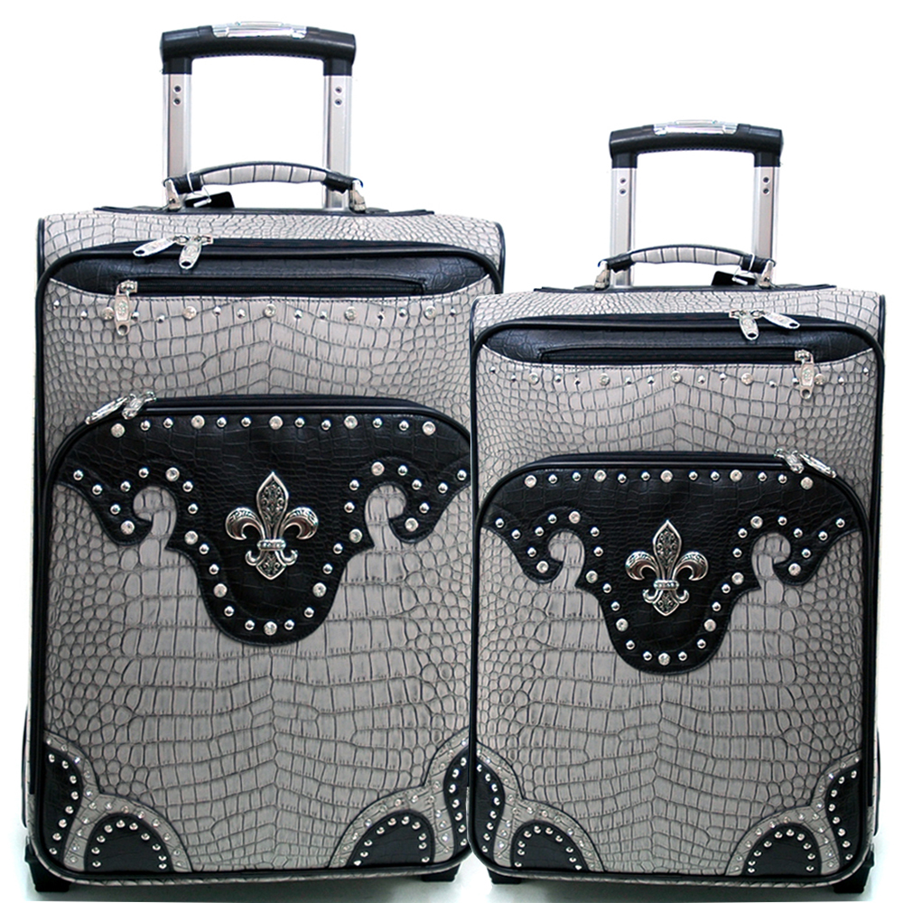 Women's Croco Fleur de Lis 2-Piece Luggage Set w/ Wheels & Extendable Handle - Grey