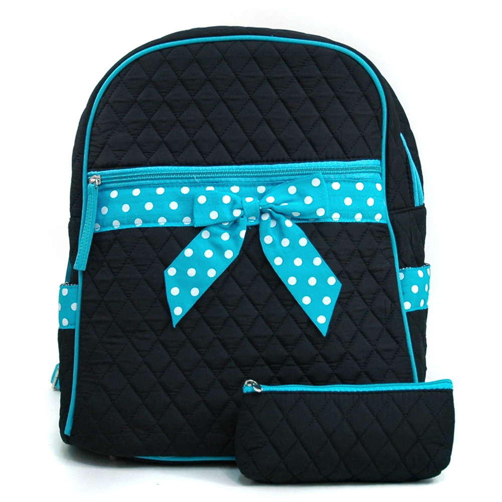 Quilted Convertible Backpack With Polka Dot Trim