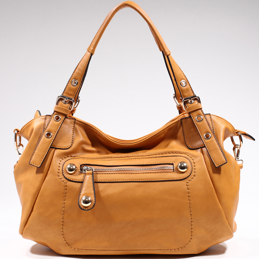 Women's Chic Fashion Shoulder Bag with Chunky Gold Studs - Light Tan