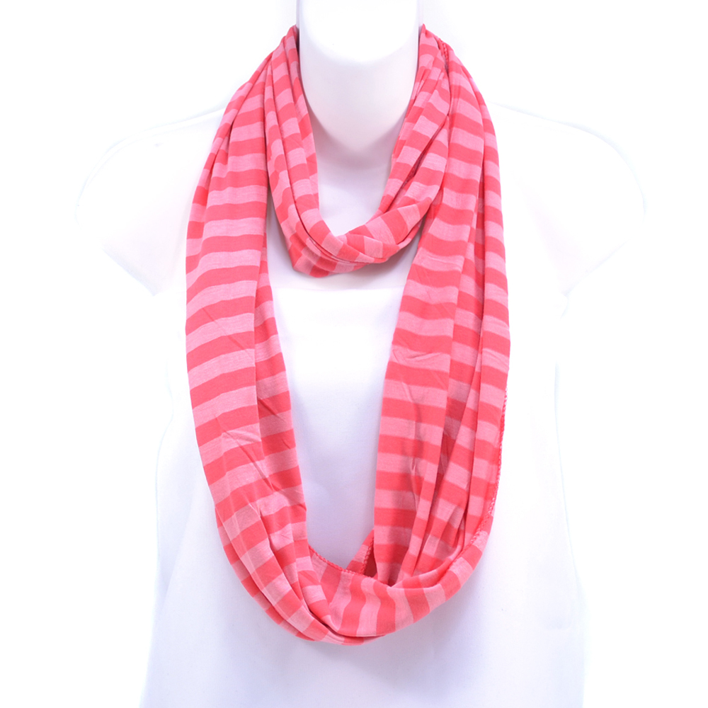 Women's Soft Two-Tone Stripe Loop Scarf - Pink