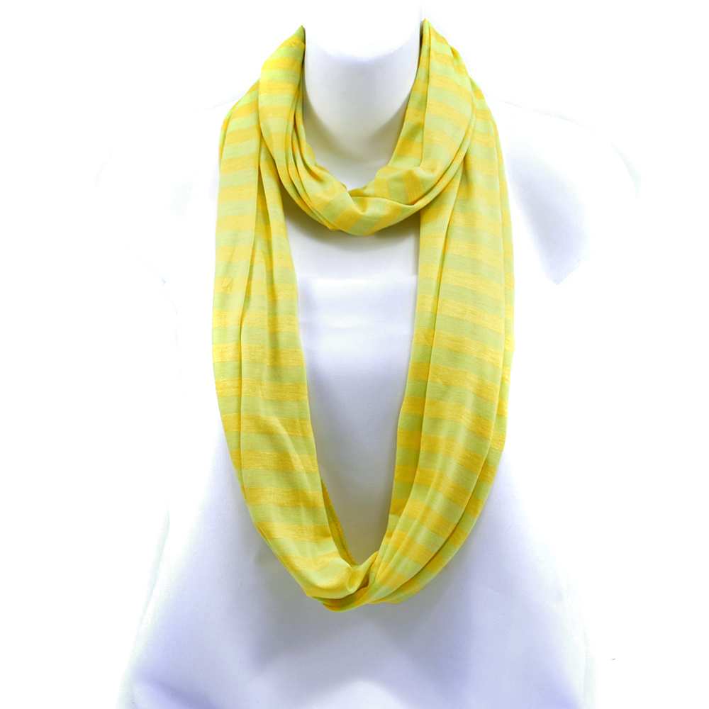 Women's Soft Two-Tone Stripe Loop Scarf - Yellow