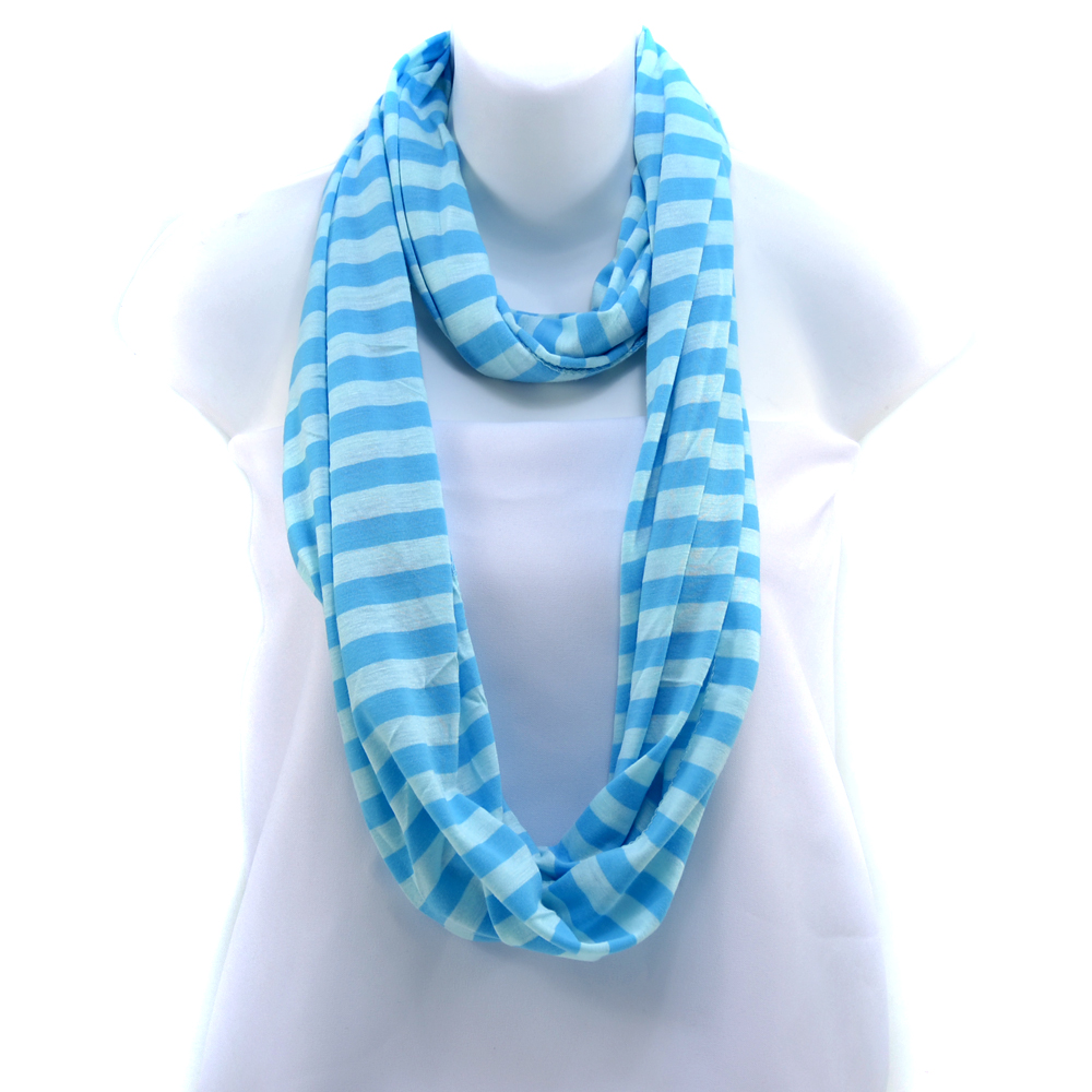 Women's Soft Two-Tone Stripe Loop Scarf - Light Blue