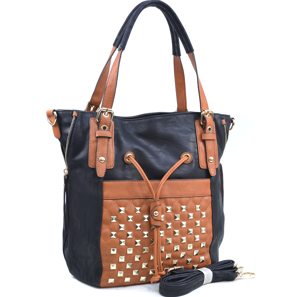 Women's Pyramid Stud Embellished Tote with Drawstring Accent - Black/Tan