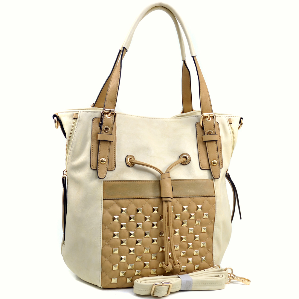 Women's Pyramid Stud Embellished Tote with Drawstring Accent - /Tan