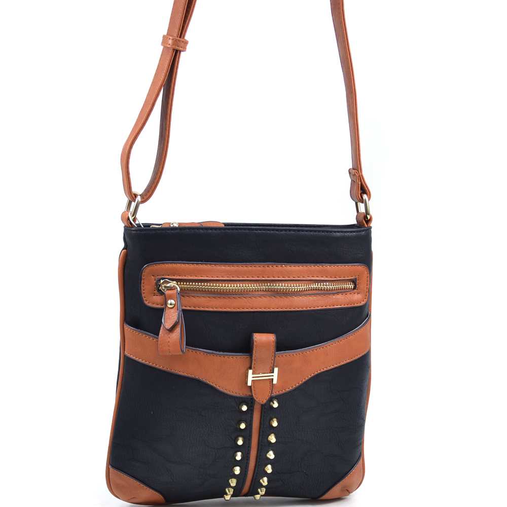 Women's Two Tone Cone Studded Messenger Bag with Gold Accents - /Tan