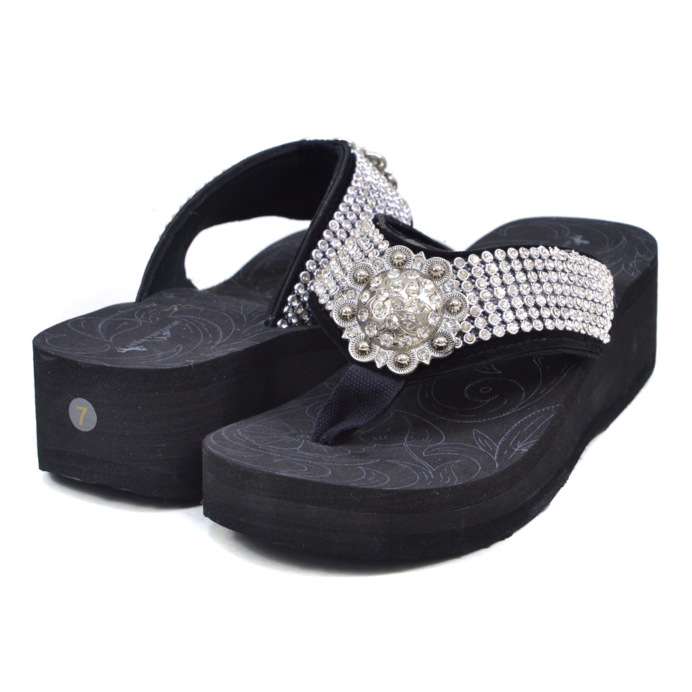 Montana West Rhinestone Embellished Summer Sandals with Sunburst Ornament - Black