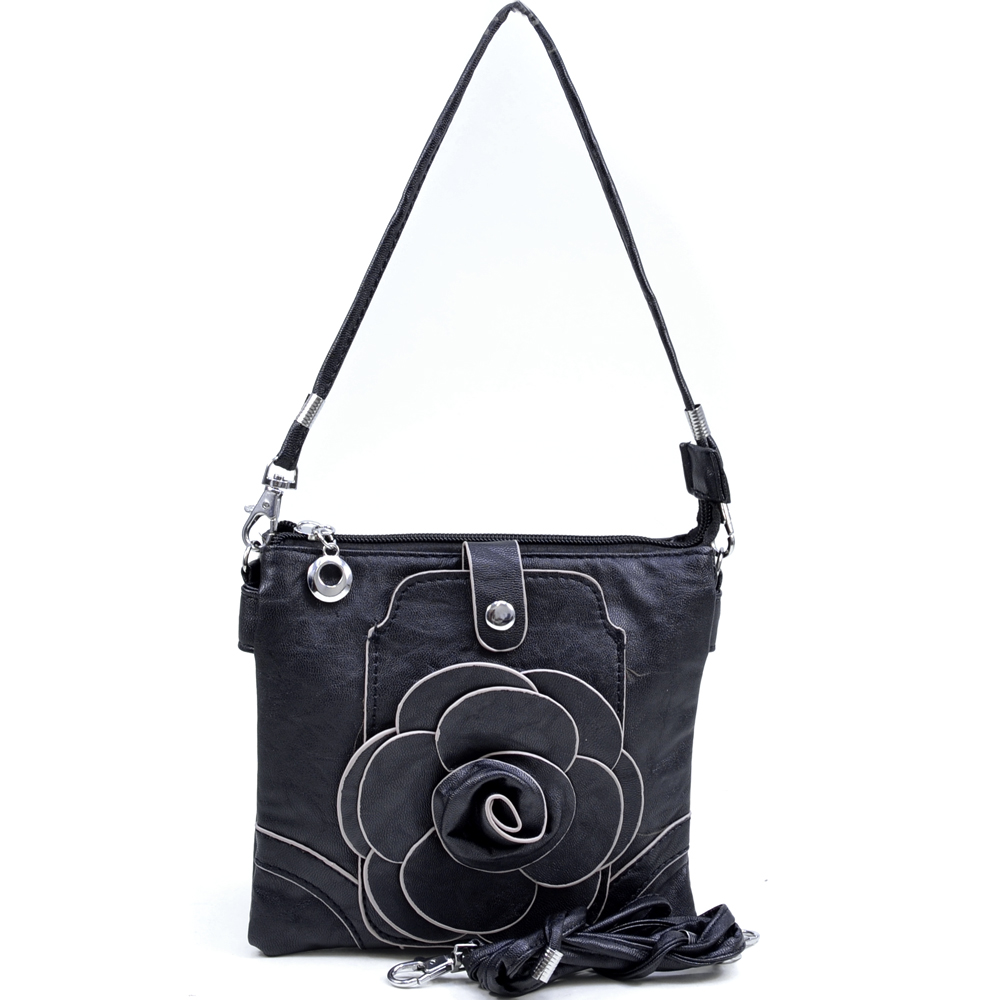 Women's Flower Patch Accent Messenger Bag with Interchangeable Straps