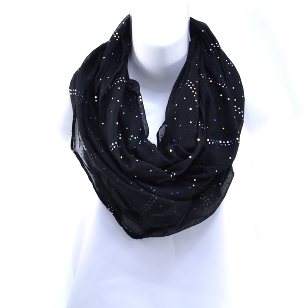 Women's Sheer Loop Scarf with Glistening Accents - Black