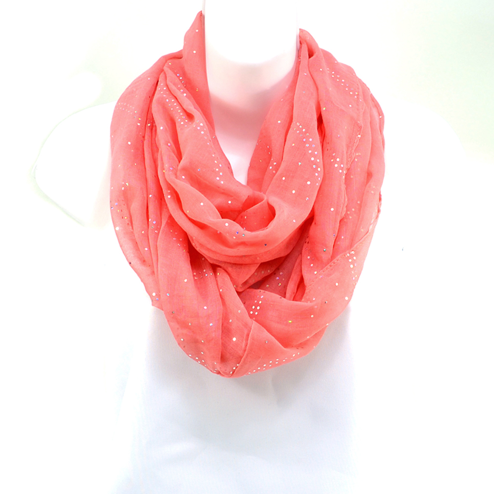 Women's Sheer Loop Scarf with Glistening Accents - Coral