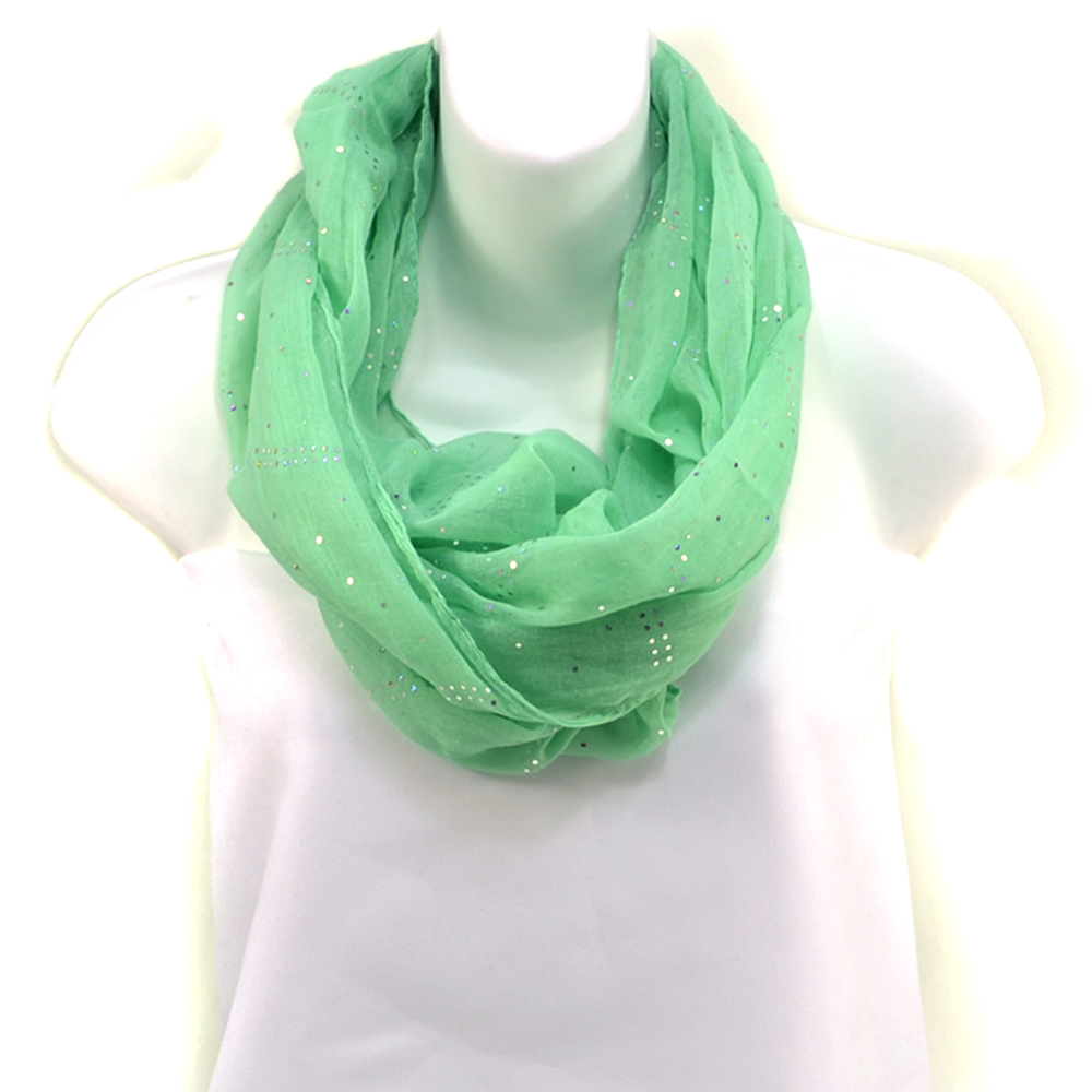 Women's Sheer Loop Scarf with Glistening Accents - Lime Green