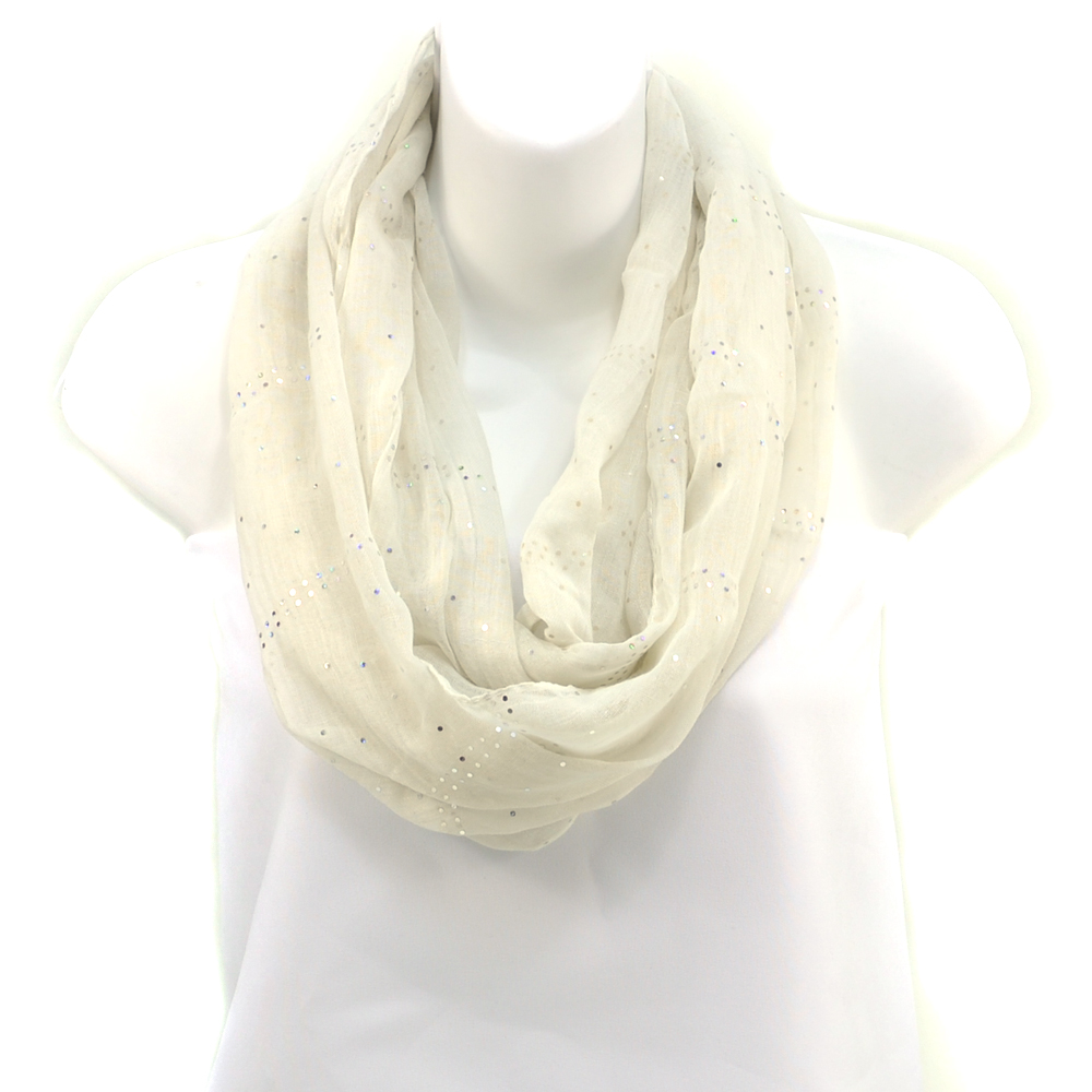 Women's Sheer Loop Scarf with Glistening Accents - White