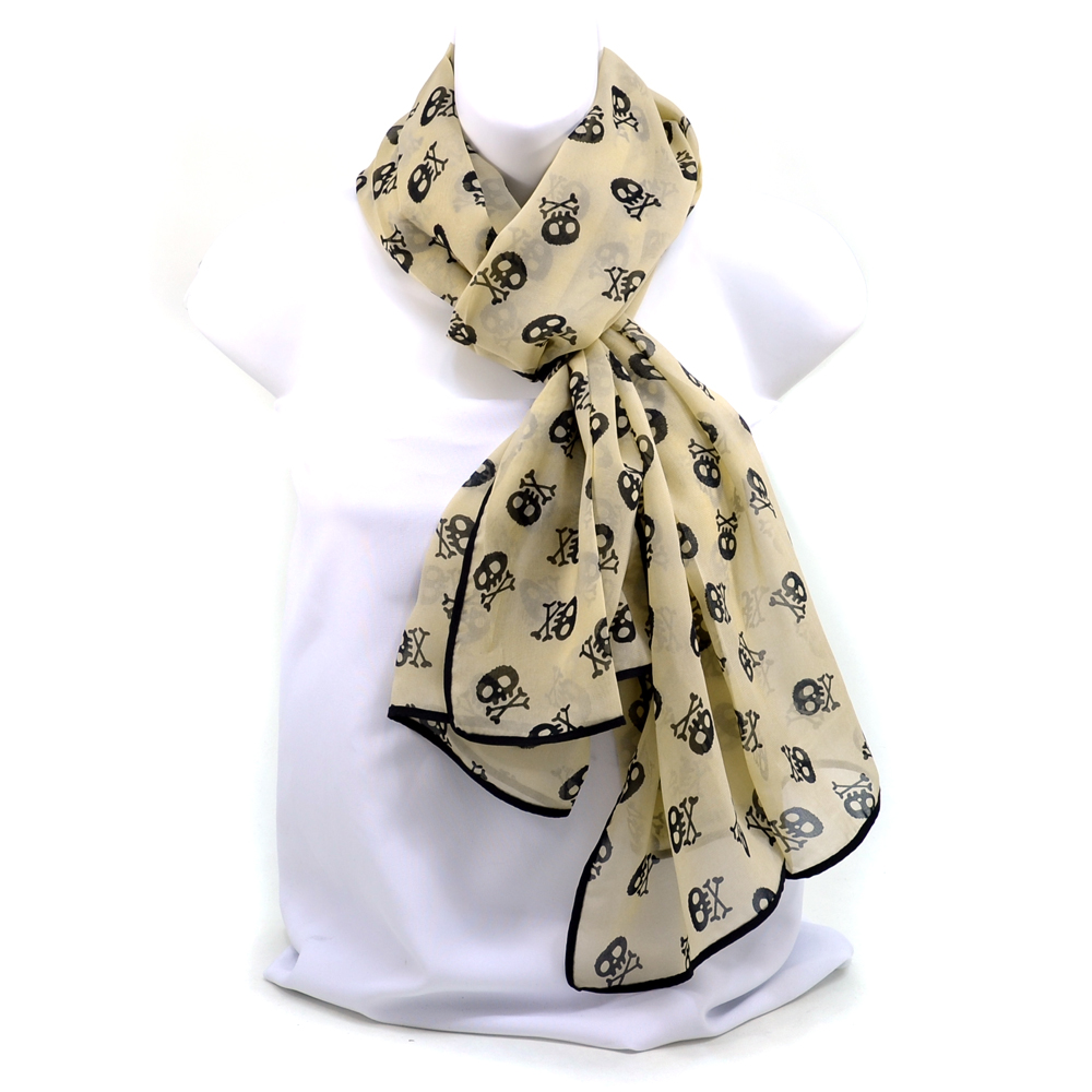 Women's Chiffon Skull Art Fashion Scarf - /Black