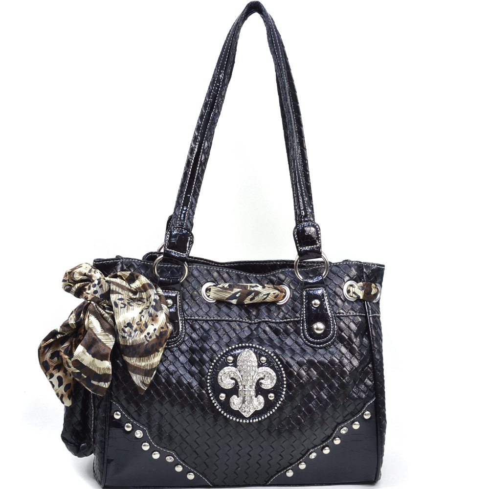 Women's Safari Infused Fleur de Lis Shoulder Bag with Woven Texture - Black