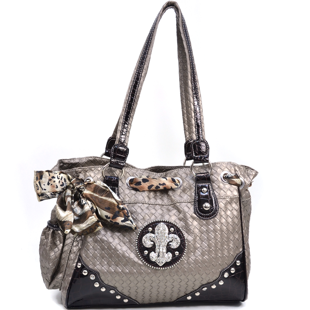 Women's Safari Infused Fleur de Lis Shoulder Bag with Woven Texture - Pewter