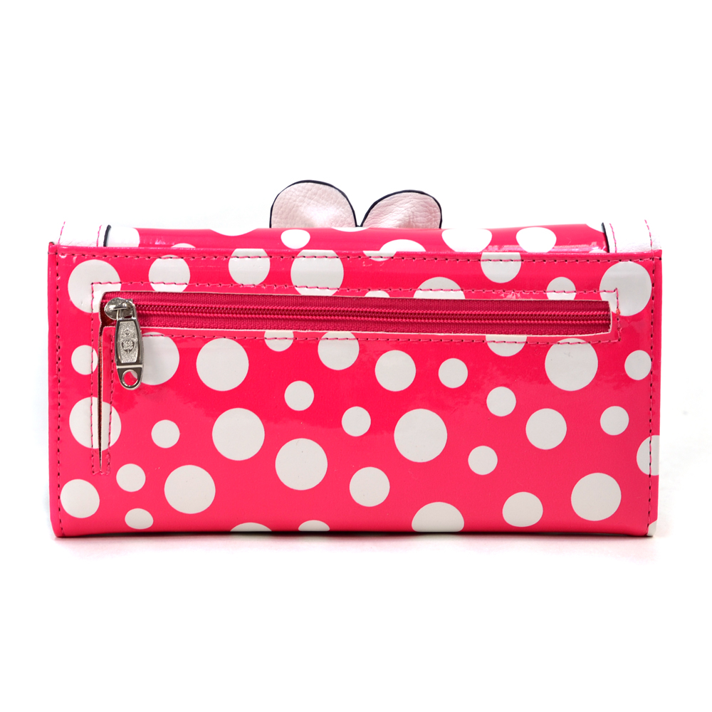 Women's Rhinestone Floral Adorned Polka Dot Checkbook Wallet - Pink/White