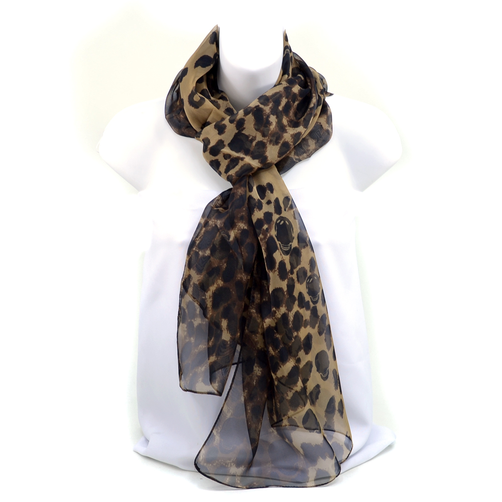 Women's Chiffon Skull Infused Leopard Print Scarf - Coffee/Black