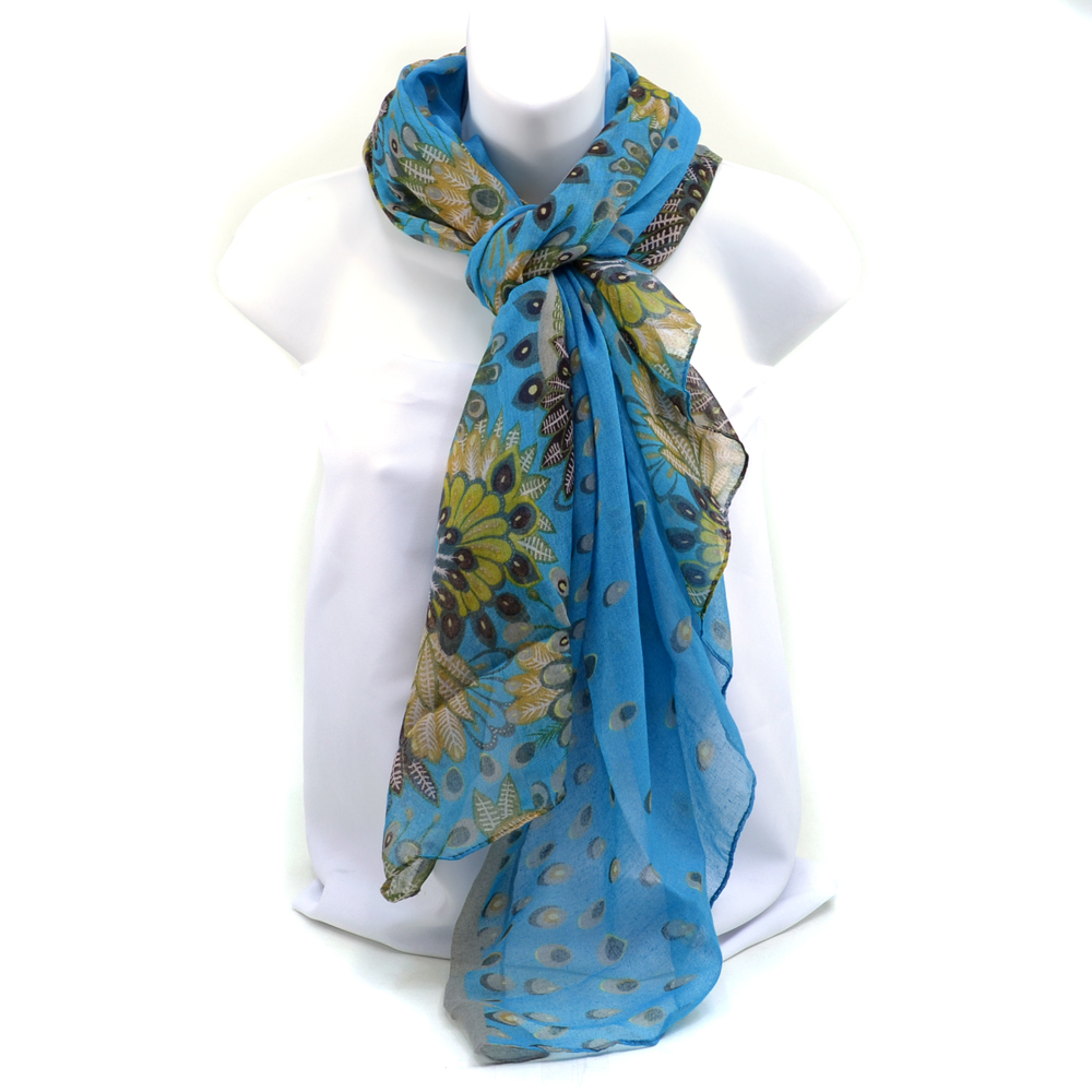 Women's Sophisticated Peacock Inspired Floral Fashion Scarf - Blue
