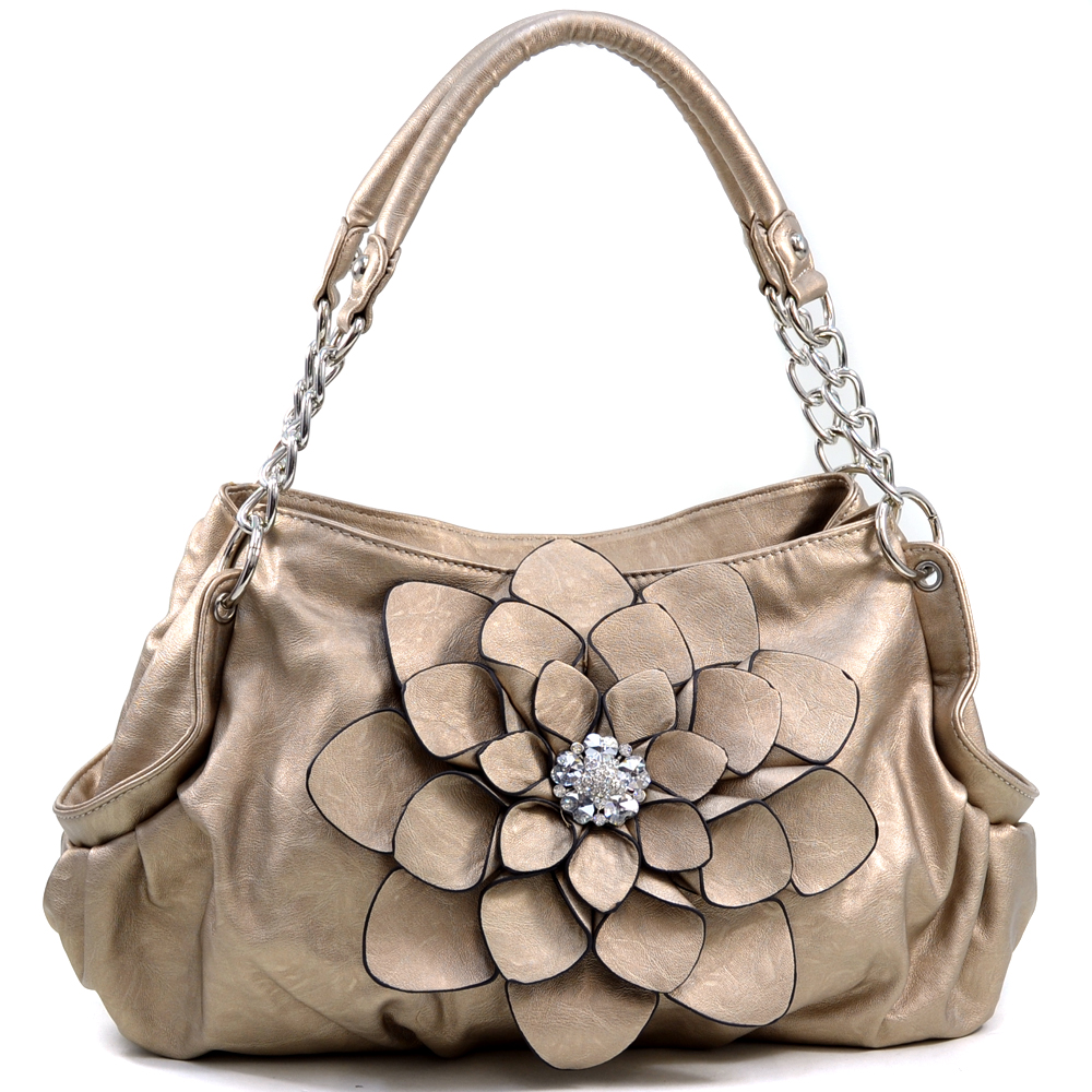 Fashion Flower Patch Shoulder Bag w/ Rhinestone Accent - Bronze