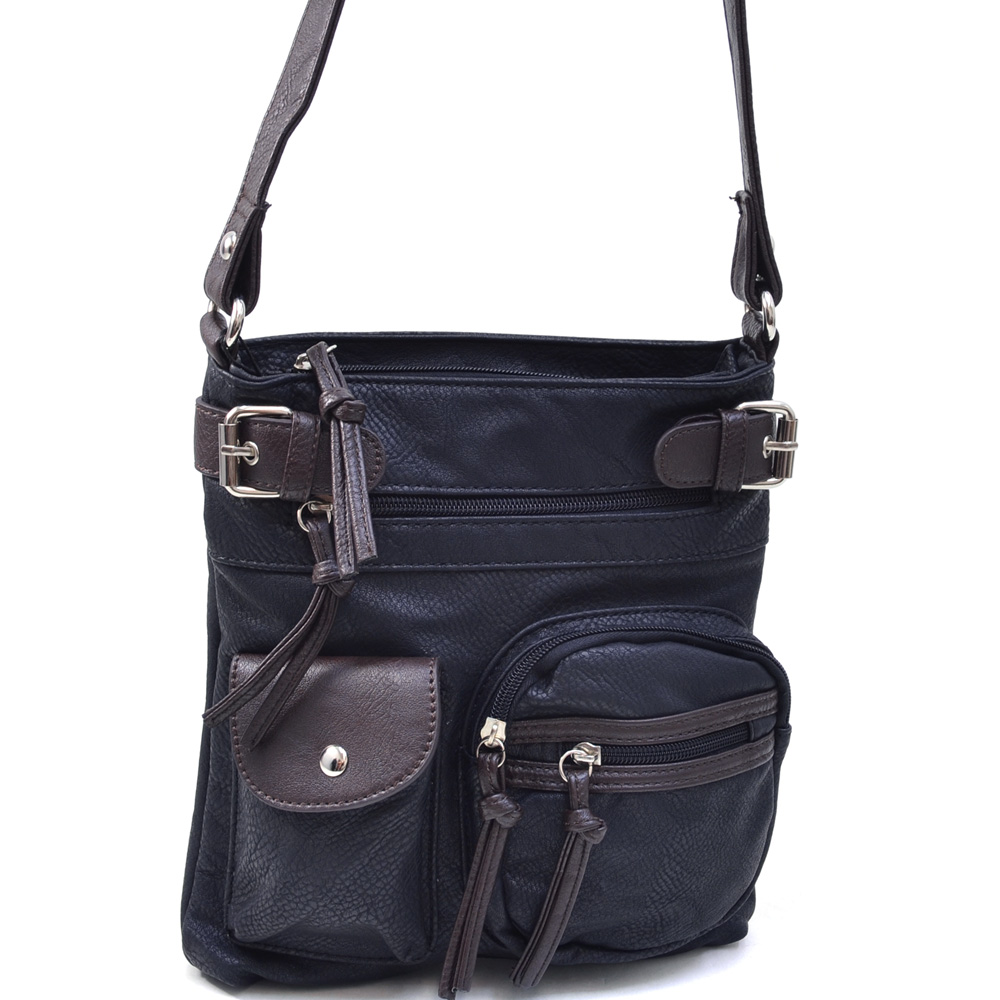 Women's Two-Tone Multi-Pocket Messenger Bag with Belted Accents - /Brown