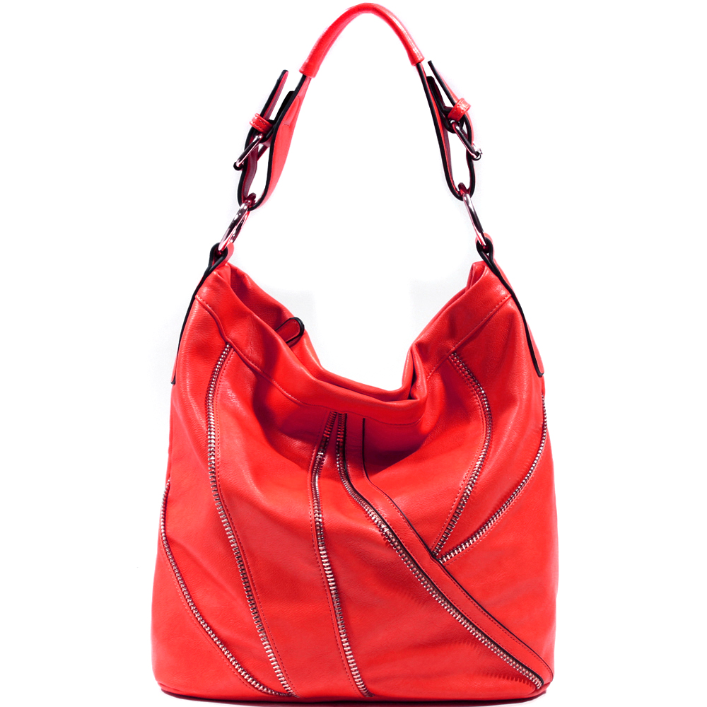 Women's Zipper Embellished Fashion Hobo with Gold Glistening Accents