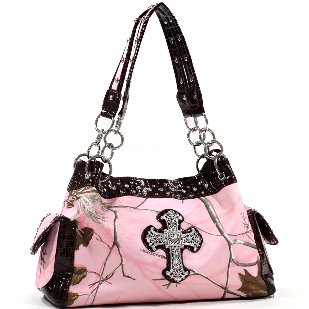 Realtree® AP Pink Camo Cross Accented Shoulder Bag