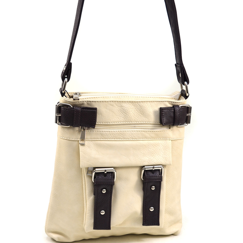 Dasein Women's Classic Two-Tone Messenger Bag with Belted Accents - /Brown