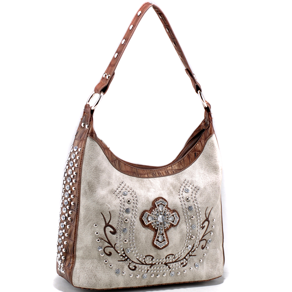 Elegant Studded shoulder bag with rhinestone cross accent - /Coffee