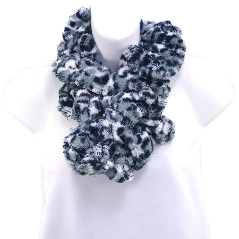 Leopard Design Faux Fur Boa Fashion Scarf - Black/Grey