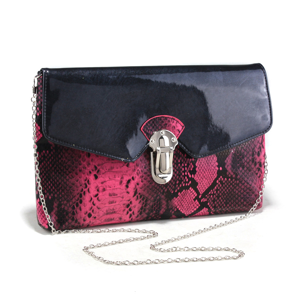 Women's Snakeskin Faux Leather Fashion Clutch with Bonus Chain Strap
