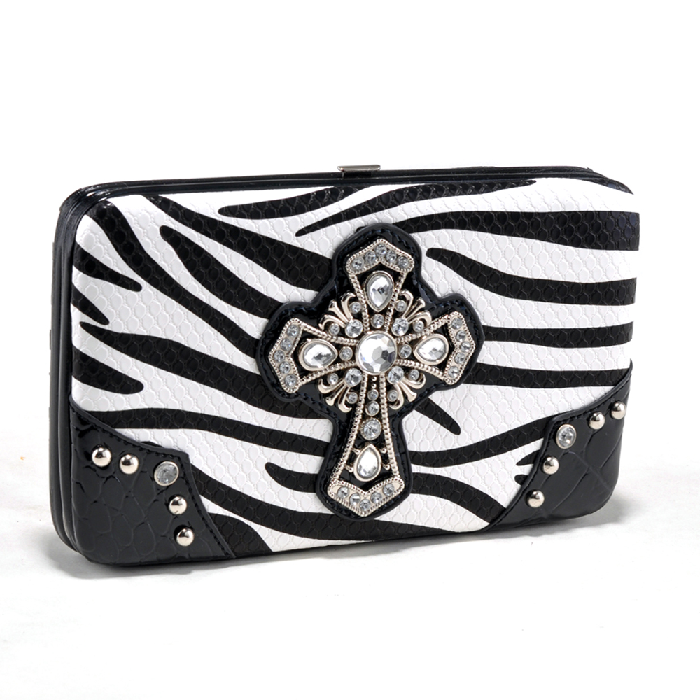 Zebra Print and Croco Trim Frame Wallet with Rhinestone Cross