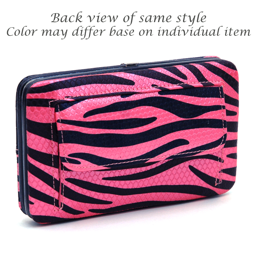 Zebra Print and Croco Texture Frame Wallet with Rhinestone Cross - Red