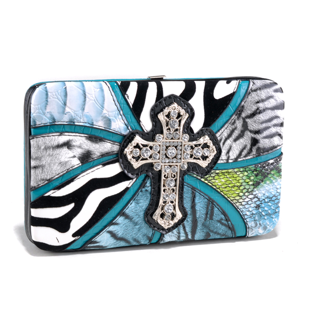 Safari Inspired Frame Wallet with Cross Accent and Mixed Animal Prints