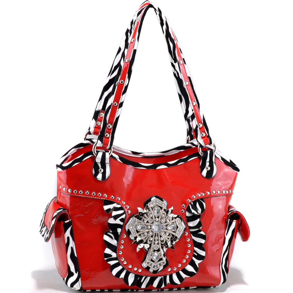 Studded Zebra Print Shoulder Bag with Rhinestone Cross Accent