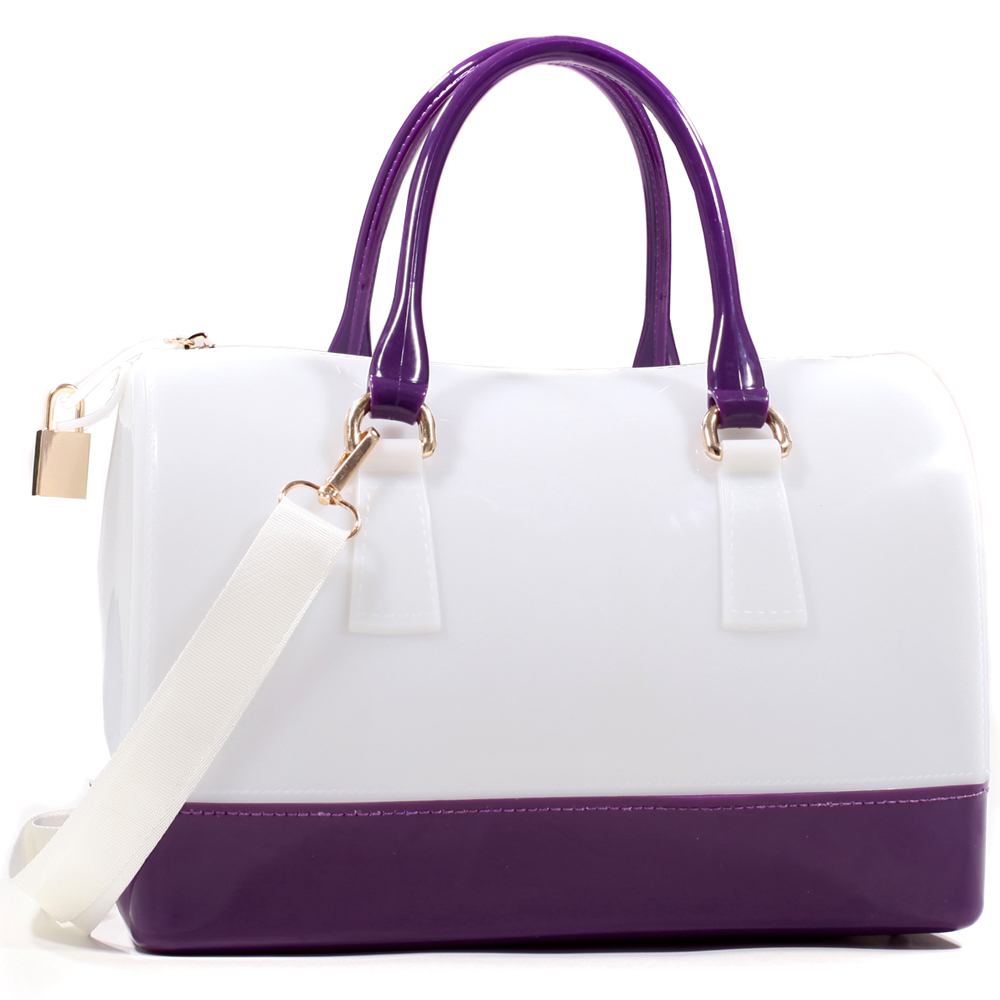 Women's Two-tone Fashion Jelly Satchel with Lock and Gold Accents